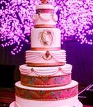 Tall wedding cake with Indian turban design