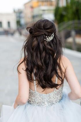Bride in beaded wedding dress hayley paige long brown hair curled half up half down crystal piece
