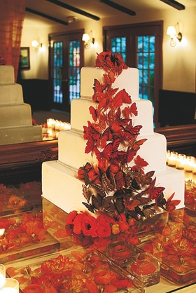 Four layer white cake with brown and red butterfly decorations