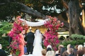 chuppah covered with pink bougainvillea flowers
