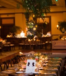 geometric terrariums hanging above tables at wedding reception