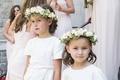 White short-sleeve flower girl dresses with pink flower crown