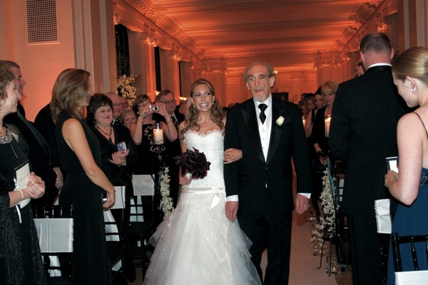 Anya Sarre walks down aisle with father in Elie Saab dress