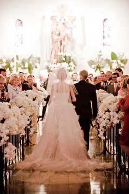 All-white church ceremony décor