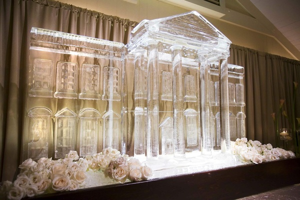 Huge wedding reception ice sculpture in shape of White House
