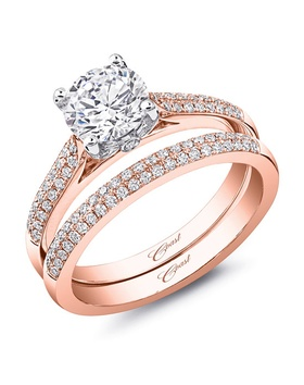 Rose gold ring and matching band with two-row diamonds