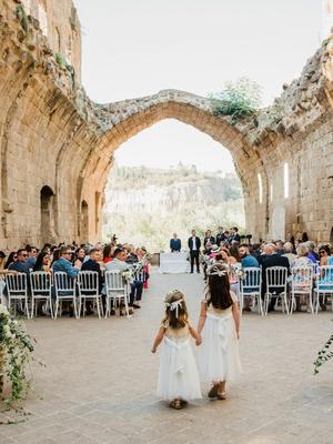 wedding ceremony Sala Capitolare in umbria italy century catholic church abbey italy countryside