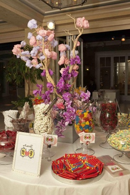 Cotton candy tree and vases filled with treats