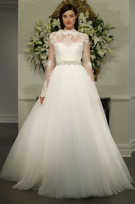 Wedding Dress With Sheer Sleeves And Neckline By Legends Romona Keveza