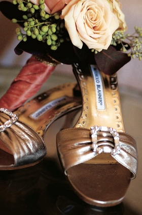 Manolo Blahnik open toe wedding heels in light brown