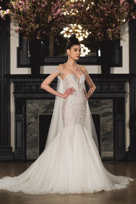 Ines Di Santo Spring 2019 collection strapless v-neck trumpet gown with cathedral train