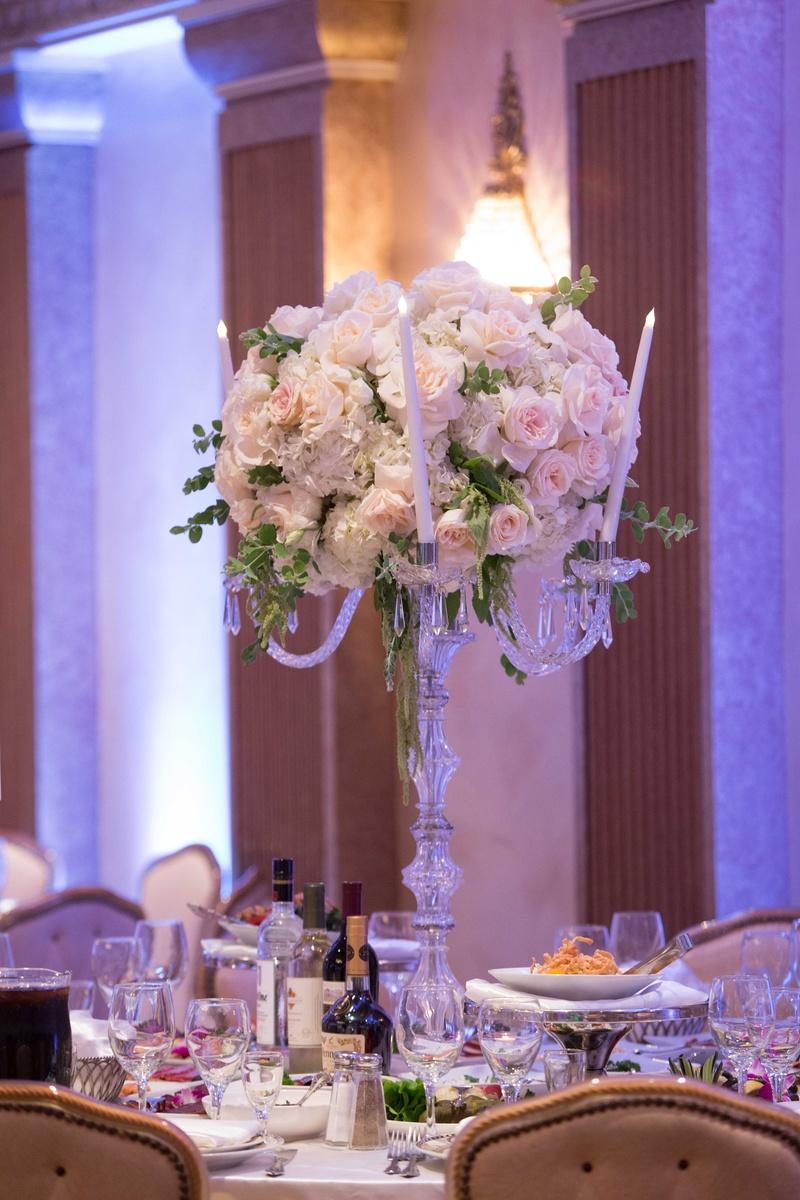 Reception Dcor Photos White Blush Rose Candelabra Centerpiece