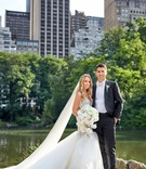 bride in galia lahav wedding dress and cathedral veil with groom in white bow tie new york city