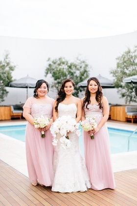 Bride with bridesmaids in light pink long dresses different necklines short sleeve sheer sleeveless