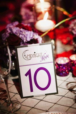 Theater wedding title on reception table number card