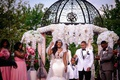 wedding ceremony outdoor bride and groom under iron structure white orchids pink bridesmaids