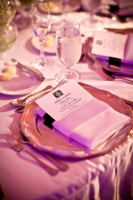 Black and white menu at luxurious wedding reception