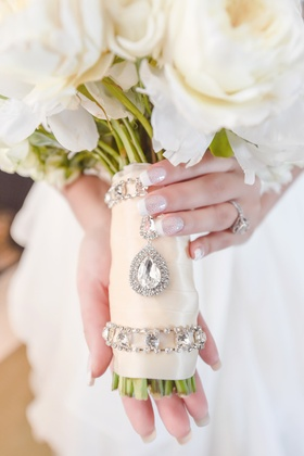classic bridal bouquet wrapped with crystal detailing