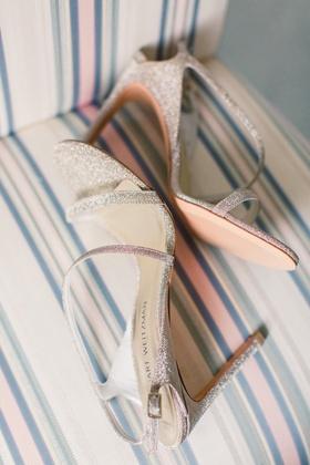 Stuart Weitzman sandals silver metallic stiletto sparkle glitter open toe open heel