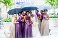 Purple and champagne-hued floor-length gowns