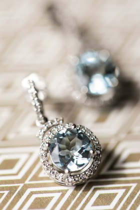 aquamarine earrings with diamond halo for something blue