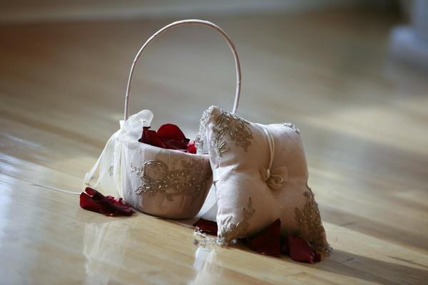Matching flower girl purse and ring bearer pillow