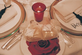 Wrapped favor and gift for guest on table