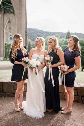 bridesmaids navy blush white bouquets bride ivory strapless gown portland oregon outdoor wedding
