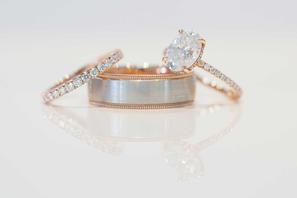 oval diamond ring with rose gold paveé setting, men's ring brushed white gold and rose gold border