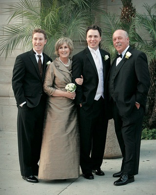 Mother-of-the-Groom taupe dress and boys