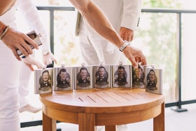 groomsmen gifts flasks with cartoon caricatures