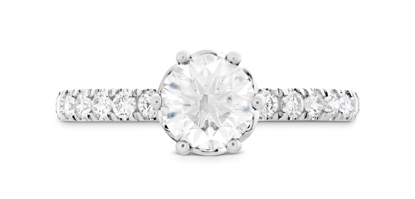 Hearts On Fire solitaire diamond engagement ring with diamond band signature bezel basket ring