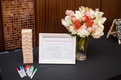 Bridal shower guest book composed of Jenga pieces