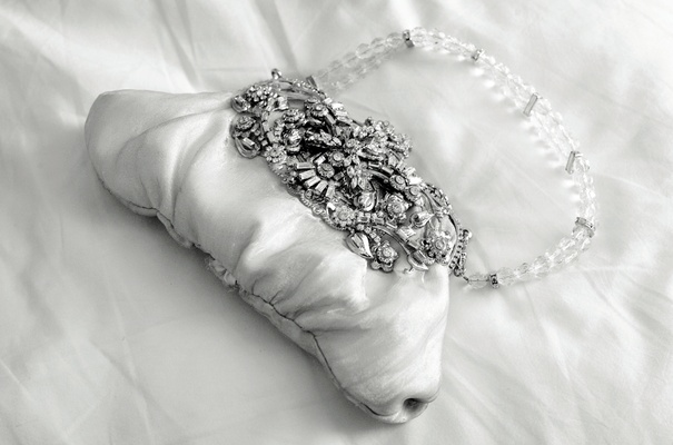 Black and white photo of crystal wedding purse