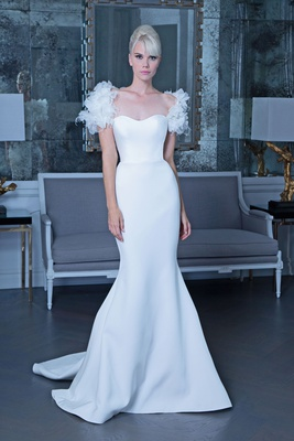 Romona Keveža fall 2019 bridal collection wedding dress RK9506 fit-and-flare bold shoulder detailing