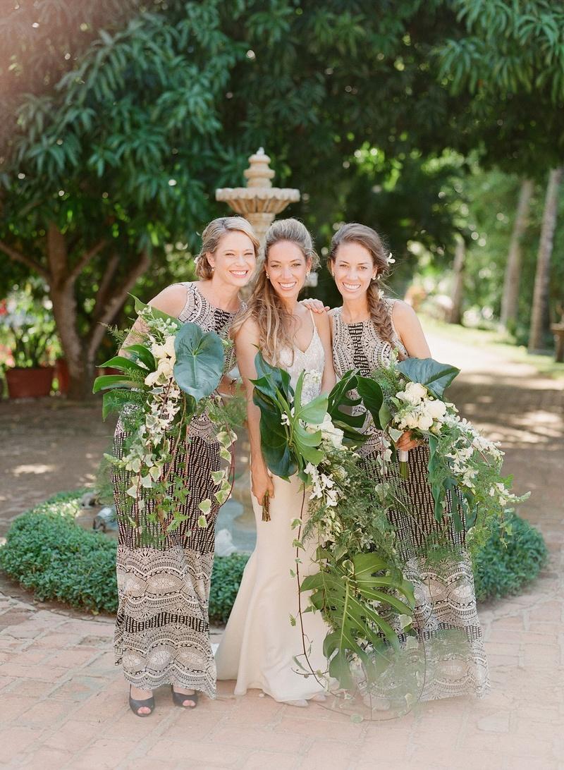 ... Bride With Sisters Braids Cascading Palm Frond Unique Bouquets Wedding  Ideas Sequin Bridesmaid Dress ...