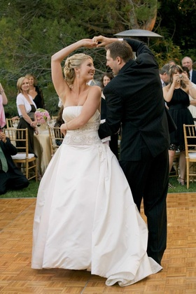 Isabelle Bridges and husband dance at reception