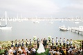 Wedding ceremony aerial shot of San Diego harbor and bay