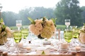 Rustic wedding with low centerpiece hydrangea fern rose green goblet candles white linens
