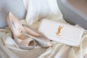 wedding accessories jimmy choo peep toe metallic glitter pumps yves saint laurent ysl white bag