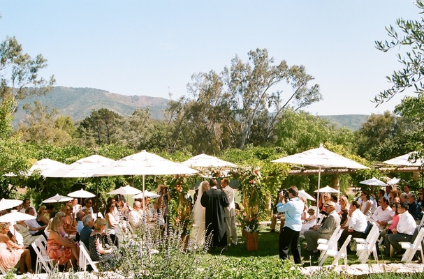 View of mountains from outdoor ceremony in Ojai