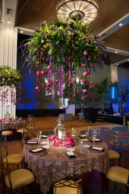 cascading flowers, floral chandelier, suspending flowers