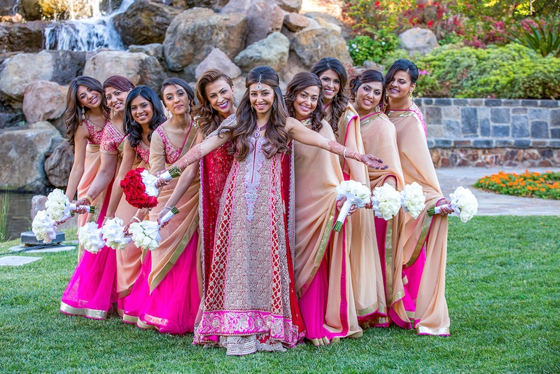 Indian bride with girlfriends in vibrant sarees