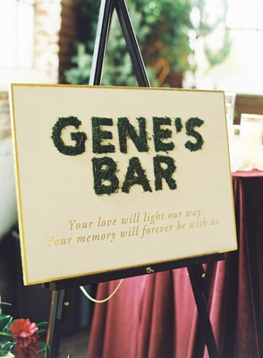 wedding reception sign moss gold late passed away father late loved ones
