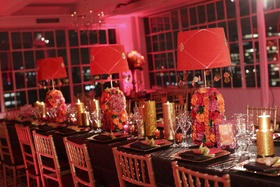 Brown linens topped with pink lampshades