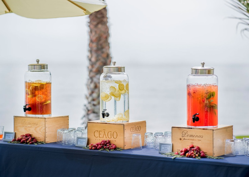 wedding ceremony beach venue strawberry basil lemonade filtered water and tropical iced tea