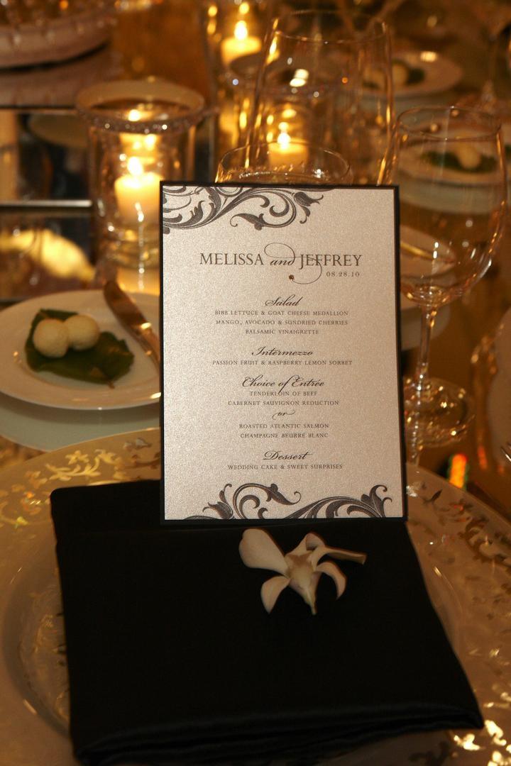 Shimmer silver wedding menu card with rhinestone
