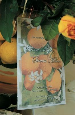 invitations printed with orange tree design