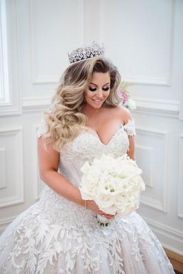 wedding portrait ashley alexiss drop waist ball gown long hair curls tiara with pretty makeup