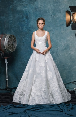 Sareh Nouri fall 2019 bridal collection wedding dress Halle A-line gown with embroidered lace